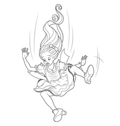 Falling Alice Coloring Page vector