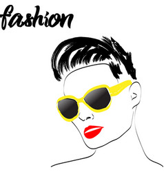 fast fashion sketch girl in glasses with red lips vector image