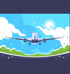 flat aircraft takes off on blue sky background vector image