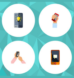 flat icon phone set of screen chatting cellphone vector image