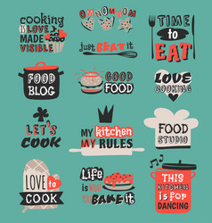 Food logotype restaurant vintage design cooking vector