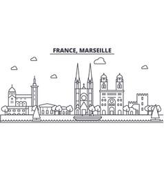 france marseille architecture line skyline vector image