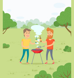 Friends roasting meat bbq in forest park weekends vector