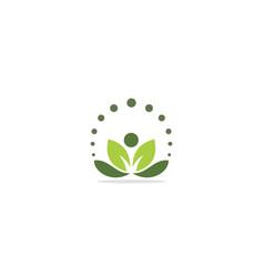 Green leaf organic yoga logo vector