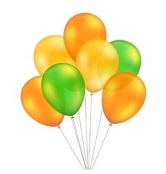 Green Orange Yellow Balloons Set Isolated vector