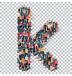 Group people shape letter K Transparency vector