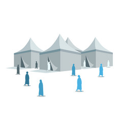 Hajj pilgrimage silhouette around mina tents vector