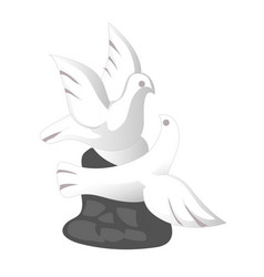 Hand drawn pair of doves isolated on white vector