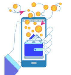hand holding smartphone with wallet and coins vector image