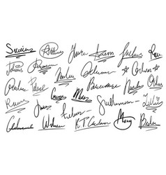 Handwritten signature manual signatures vector