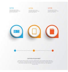 Hardware icons set collection of cellphone power vector