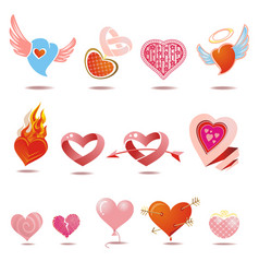 Hearts icons set love signs vector