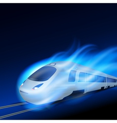 High-speed train in motion blue flame at night vector image