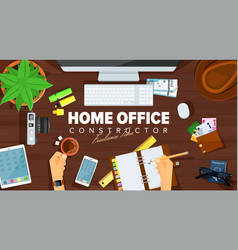 home office desk template design vector image