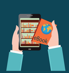 Human hand chooses e books in the internet books vector