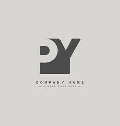 initial letter py logo - minimal business logo vector image
