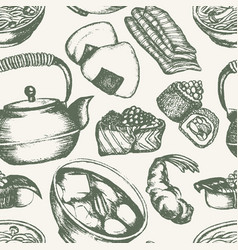 Japanese food - vintage hand drawn seamless vector