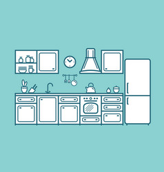 Kitchen set furniture in linear flat style vector