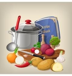 Kitchen utensils and vegetables vector