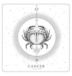 Magic witchcraft card with cancer zodiac sign vector