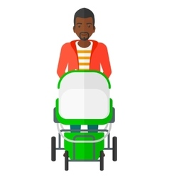 Man pushing pram vector image