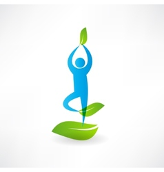 Man yoga tree icon vector