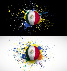 maxico flag with soccer ball dash on colorful vector image