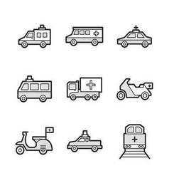 Medical ambulance car and train set icons vector