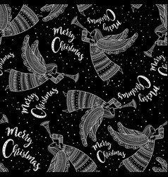 merry christmas seamless pattern with angel black vector image