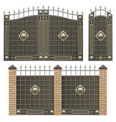 metal gate with fence vector image