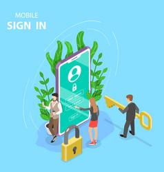 Mobile sign up isometric flat concept vector