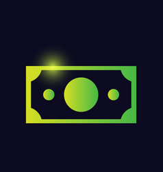 Money banknote sign glowing neon icon banking vector