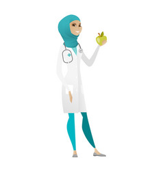 Nutritionist offering fresh red apple vector