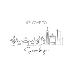 one single line drawing surabaya city skyline vector image