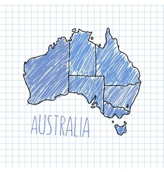 Pen hand drawn Australia map on paper vector