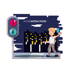 People in the street with a void distractions vector