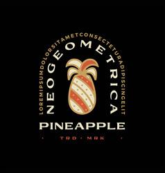 pine apple geometric t shirt badge vintage emblem vector image