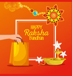 Poster hindu event with candle and bracelet vector