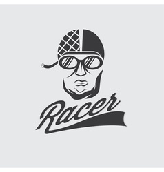 Racer head vintage vector