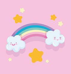 rainbow cartoon clouds gold star dream fantasy vector image
