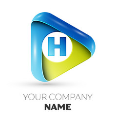 realistic letter h logo colorful triangle vector image