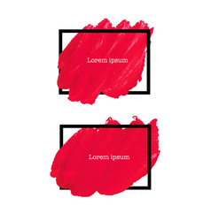 red brush stroke frame vector image