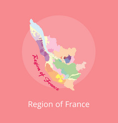 region of france map with marks of best winery vector image