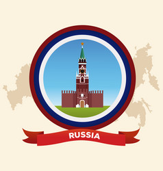 Russia building on round symbol vector
