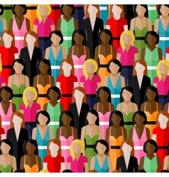 Seamless pattern with a large group of girls and vector