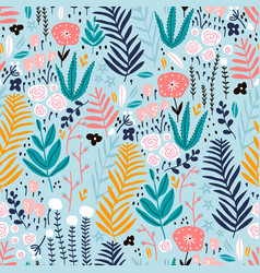 seamless pattern with flowers branch leaves vector image