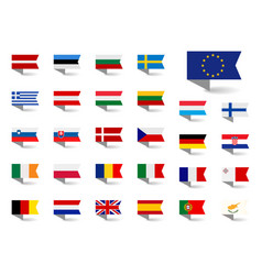 set flags european union big vector image
