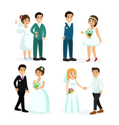 set happy characters bride vector image