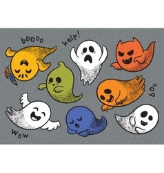 Set of cute cartoon ghosts with different facial vector