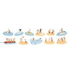 Set people performing summer sports and leisure vector